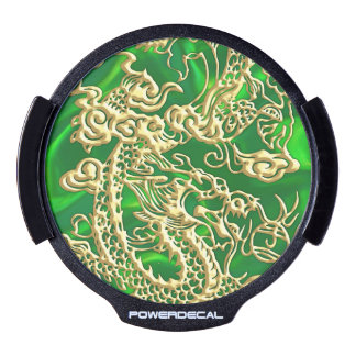 Embossed Gold Dragon on Green Satin LED Car Decal