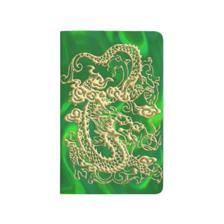 Embossed Gold Dragon on Green Satin Journal