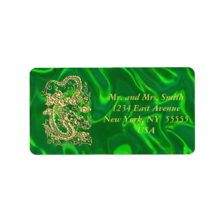 Embossed Gold Dragon on Green Satin Personalized Address Labels