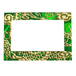 Embossed Gold Dragon on Green Satin Magnetic Frame