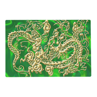 Embossed Gold Dragon on Green Satin Placemat