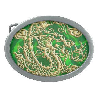 Embossed Gold Dragon on Green Satin Print Belt Buckle