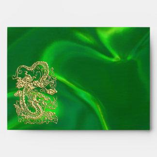 Embossed Gold Dragon on Green Satin Print Envelope
