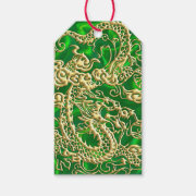 Embossed Gold Dragon on Green Satin Print Gift Tags (<em>$12.15</em>)