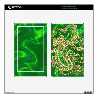 Embossed Gold Dragon on Green Satin Print Kindle Fire Decals