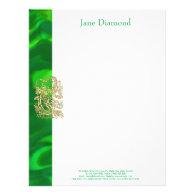 Embossed Gold Dragon on Green Satin Print Letterhead (<em>$1.25</em>)