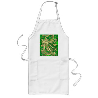 Embossed Gold Dragon on Green Satin print Long Apron
