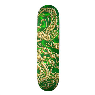 Embossed Gold Dragon on Green Satin Skate Boards