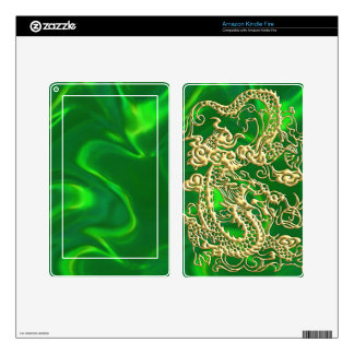 Embossed Gold Dragon on Green Satin Skin For Kindle Fire