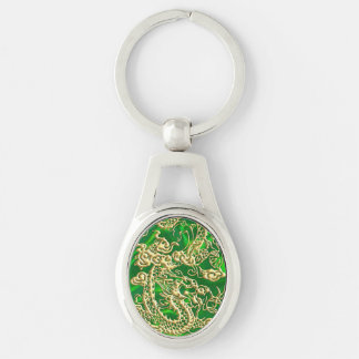 Embossed Gold Dragon on Green Satin Textured Print Keychain