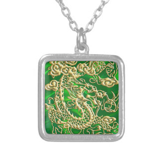 Embossed Gold Dragon on Green Satin Textured Print Silver Plated Necklace