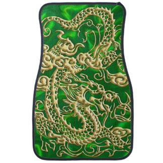 Embossed Gold Dragon on Green Satin Car Mat