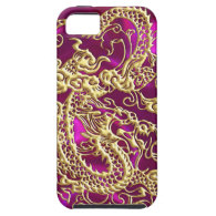 Embossed Gold Dragon on Magenta Satin iPhone 5 Cases (<em>$61.95</em>)