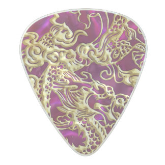 Embossed Gold Dragon on Magenta Satin Pearl Celluloid Guitar Pick