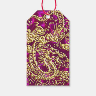 Embossed Gold Dragon on Magenta Satin Gift Tags