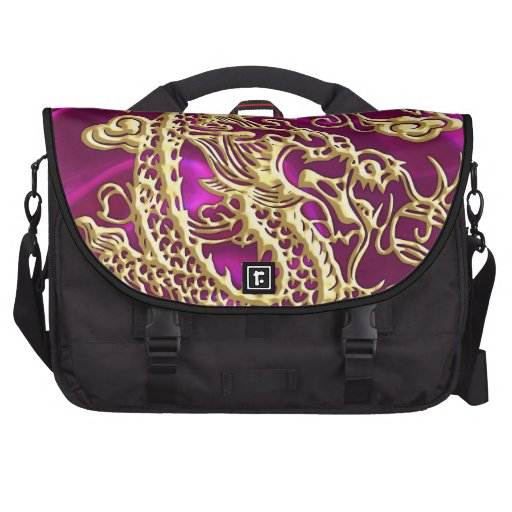 Embossed Gold Dragon on Magenta Satin Commuter Bags