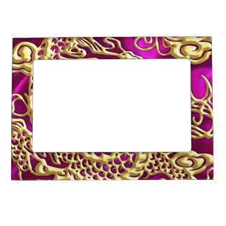 Embossed Gold Dragon on Magenta Satin Magnetic Frame