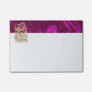 Embossed Gold Dragon on Magenta Satin Post-it® Notes