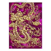 Embossed Gold Dragon on Magenta Satin Print Card (<em>$4.00</em>)