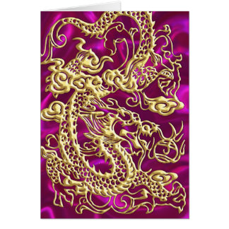 Embossed Gold Dragon on Magenta Satin Print Card