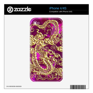 Embossed Gold Dragon on Magenta Satin Print Decal For The iPhone 4S