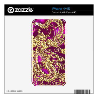 Embossed Gold Dragon on Magenta Satin Print iPhone 4S Decal