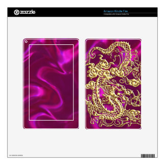 Embossed Gold Dragon on Magenta Satin Print Kindle Fire Decals