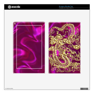Embossed Gold Dragon on Magenta Satin Print Kindle Fire Skin