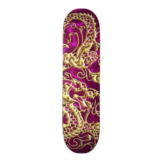 Embossed Gold Dragon on Magenta Satin Print Skateboard