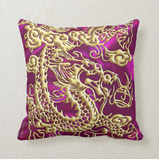 Embossed Gold Dragon on Magenta Satin Print Throw Pillow