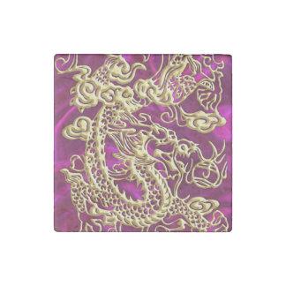 Embossed Gold Dragon on Magenta Satin Stone Magnet