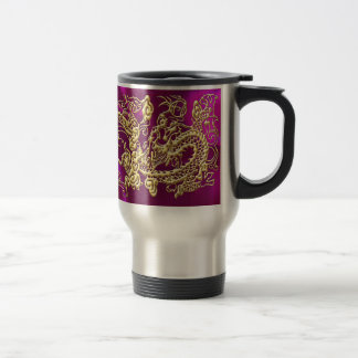 Embossed Gold Dragon on Magenta Satin Travel Mug