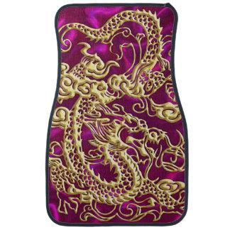 Embossed Gold Dragon on Magenta Satin Car Mat