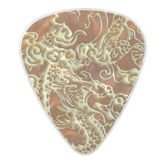 Embossed Gold Dragon on Orange Satin Pearl Celluloid Guitar Pick