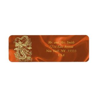 Embossed Gold Dragon on Orange Satin Custom Return Address Label