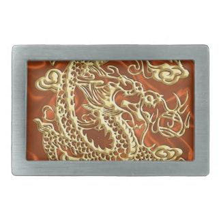 Embossed Gold Dragon on Orange Satin Print Belt Buckle