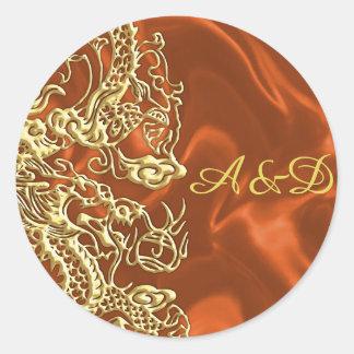 Embossed Gold Dragon on Orange Satin Print Classic Round Sticker