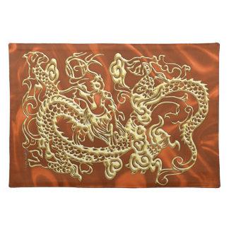 Embossed Gold Dragon on Orange Satin Print Cloth Placemat
