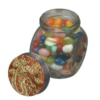 Embossed Gold Dragon on Orange Satin Print Jelly Belly Candy Jars