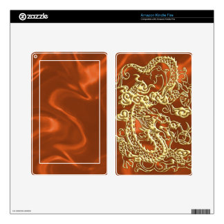 Embossed Gold Dragon on Orange Satin Print Kindle Fire Skin