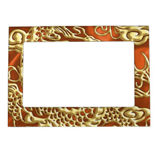 Embossed Gold Dragon on Orange Satin Print Magnetic Frame