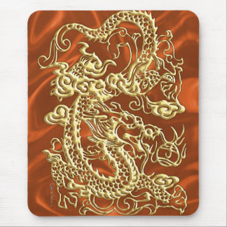 Embossed Gold Dragon on Orange Satin Print Mouse Pad