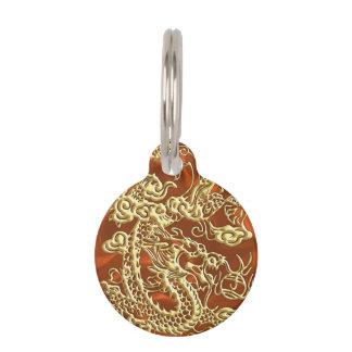 Embossed Gold Dragon on Orange Satin Print Pet Tag