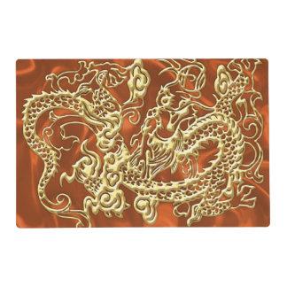 Embossed Gold Dragon on Orange Satin Print Placemat