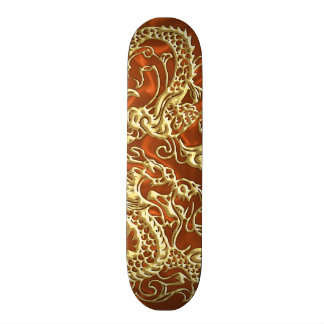 Embossed Gold Dragon on Orange Satin Print Skateboard