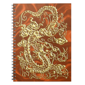 Embossed Gold Dragon on Orange Satin Print Spiral Notebook