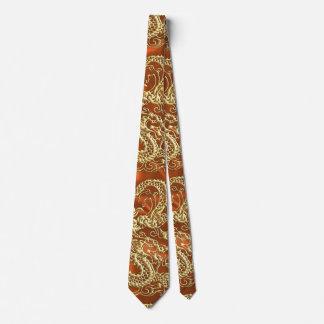 Embossed Gold Dragon on Orange Satin Tie