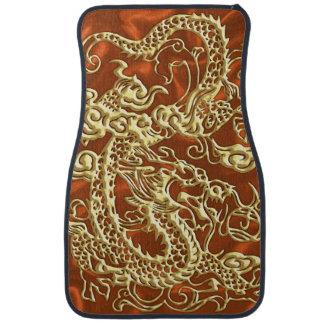 Embossed Gold Dragon on Orange Satin Car Mat