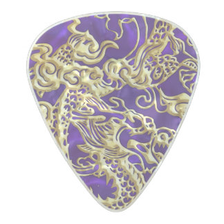 Embossed Gold Dragon on Purple Satin Pearl Celluloid Guitar Pick