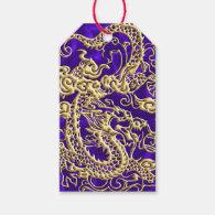 Embossed Gold Dragon on Purple Satin Gift Tags (<em>$10.00</em>)